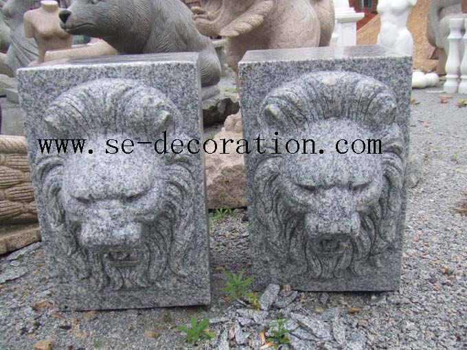 Product name:g603 grey granite lion head animal sculpture